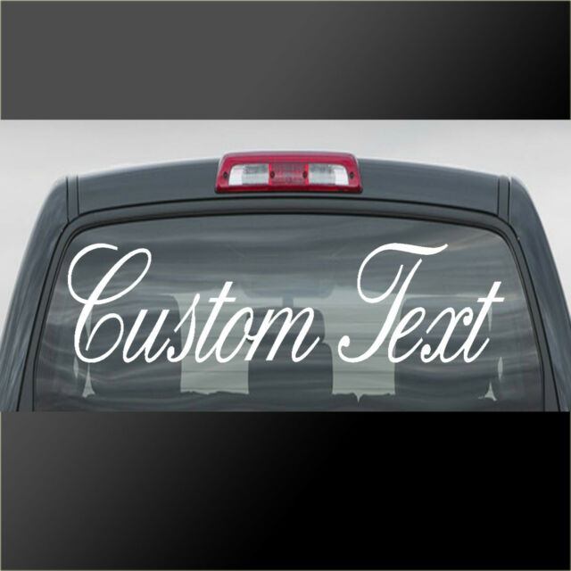 Custom text sticker personalised lettering name car van windscreen vinyl decal