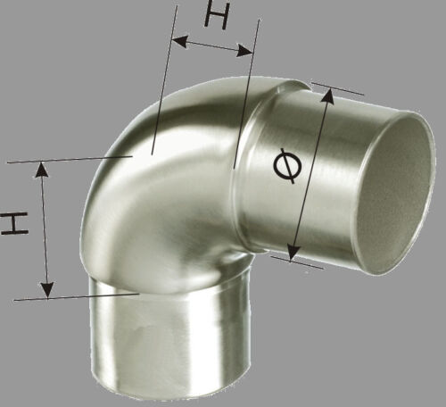 Acier Inoxydable steckfitting connexion 90 ° environ tube Arc 42,4 v2a angle garde-corps
