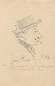 Jean-Tissier-Schauspieler-Franzoesisch-Zeichnung-Original-von-Wilcar-1947-Bruessel