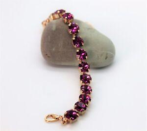 Rose-Gold-Plated-Fuchsia-Tennis-Bracelet-with-Swarovski-Crystal-Elements