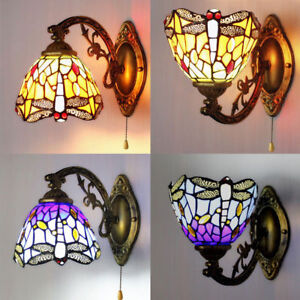 Amora tiffany style multi color dragonfly stained glass wall sconce image is loading amora tiffany style multi color dragonfly stained glass teraionfo