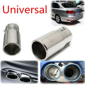 1x-58mm-Chrome-Round-Car-Exhaust-End-Tip-Stainless-Steel-Muffler-Anti-corrosive