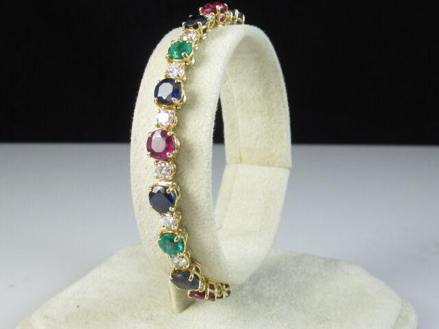 "18K Bracelet Sapphire Emerald Ruby Diamond 15.75ctw Yellow Gold 7"" $26500"