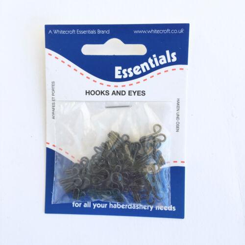 2 Hook /& Eye fasteners size 0 black 3 1 white /& silver colour
