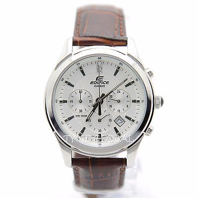 Casio Edifice EFR-517L-7A SWAROVSKI ELEMENTS Brown Leather 100M Analog Watch