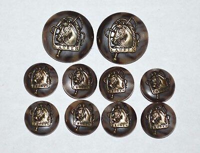 Ralph Lauren Buttons Horse Head Brown Lot Blazer Coat Replacement Set RL5