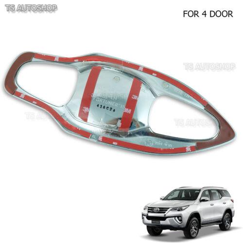 For Toyota Fortuner 2016 2017 V.2 Fitt 4Dr Chrome Bowl Insert Handle Hand Cover