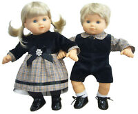 Matching Boy + Girl Black Velvet/plaid Outfits For Bitty Baby Twins Doll Clothes