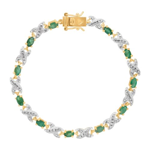 2 3/8 ct Natural Emerald XO Bracelet with Diamond in 10K Gold-Plated Silver