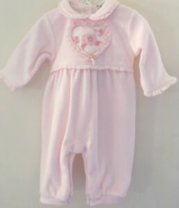 b3a9a48daf7f Beautiful Coco Collection Pink Velour Newborn 3 Piece Outfit