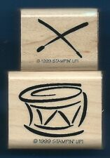 DRUM STICKS  Instrument MUSIC fun style Card Stampin' Up! 1999 Wood RUBBER STAMP
