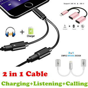 Details about 2 in 1 Dual Audio Headphone Adapter Charger Cable Splitter  For iPhone 7 X 8 Plus
