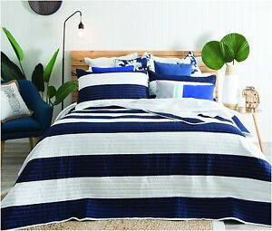 Navy Blue White Striped Modern Quilted Bedspread Pillowsham Bed
