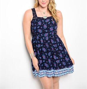 Details about Finesse Plus Size (1XL, 2XL) Floral Print Lace Detail Back  Tie Cut Out Dress