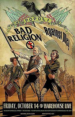 bad religion against me the vox populi tour 2016 houston concert poster ebay. Black Bedroom Furniture Sets. Home Design Ideas