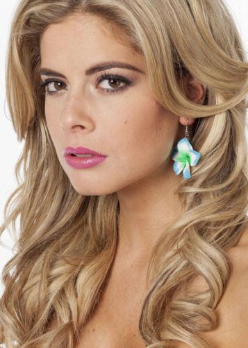 Blue Hawaiian Hula Flower Earrings