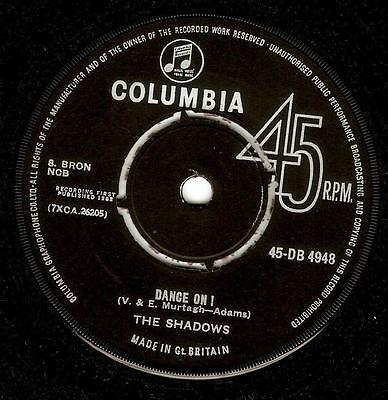THE SHADOWS Dance On Vinyl Record 7 Inch Columbia DB 4948 1962