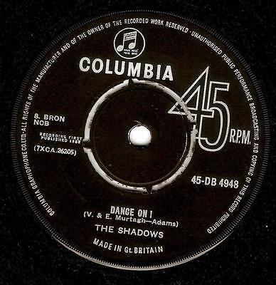 THE SHADOWS Dance On Vinyl Record 7 Inch Columbia DB 4948 1962