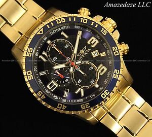 Invicta-Mens-Chronograph-Blue-Dial-18K-Gold-Plated-Stainless-Steel-Tachy-Watch