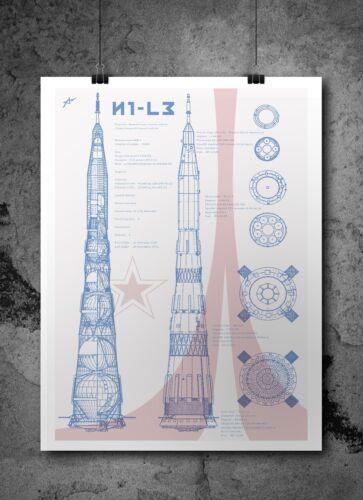 N1 Blueprints poster A3 A4 A5 Russian Rocket Print L3 Space Wall Art USSR N1