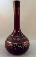 Amethyst Barber Bottle Enamel Decorated Mauve Band band 1880-90s era Purple