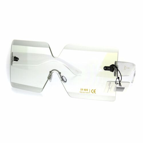 Futuristic Squared Rectangular Robotic Clear Lens Eye Glasses