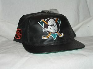 Image is loading Mighty-Ducks-Snapback-Cap-Faux-Leather-Vintage-Structured- 342885254c4e