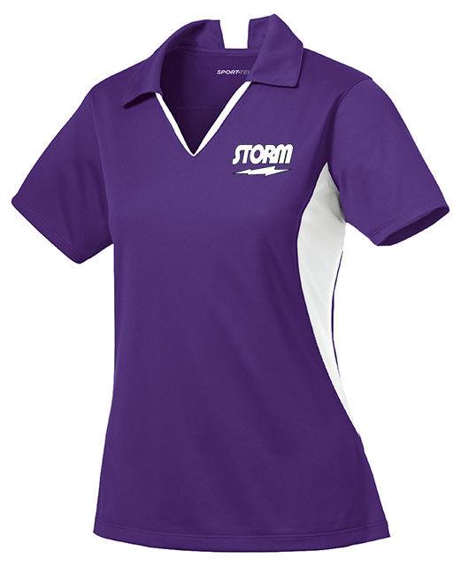 Storm Women's Mix Performance Polo Bowling Shirt Dri-Fit Purple White