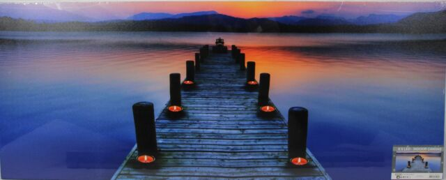 Leinwand Bild Wandbild Leuchtbild Steg ,See Natur mit 6 Beleuchtetes LED