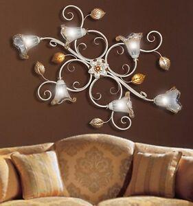 lampadario plafoniera ferro battuto 6 Luci vetri murano camera da ...
