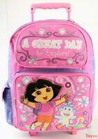 Dora A Great Day The Explorer 16 Large Rolling Backpack Girls Roller Bag -