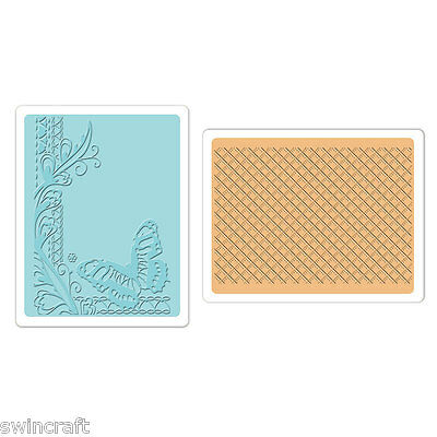 SIZZIX TEXTURED IMPRESSIONS 2 Embossing Folders BUTTERFLY LATTICE SET  658483