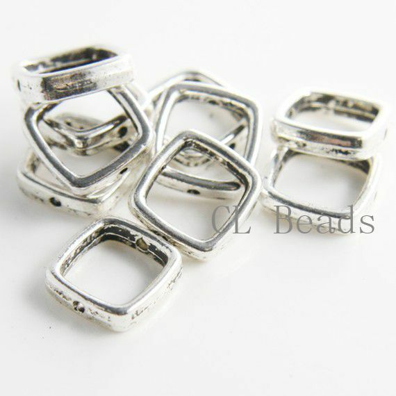 12pcs Oxidized Silver Tone Base Metal Spacers-Near Square 14mm (14069Y-F-124A)