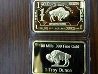 HALLOWEEN SALE!!  1 OZ Gold Buffalo Bar 100 MILLS Clad .999 24k Fine Bullion