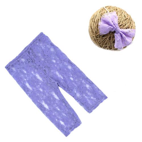 Newborn Baby Girl Flower Headband Lace Pants Photo Photography Costume Props Set