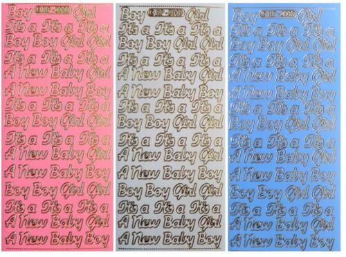 BABY BOY GIRL Peel off Stickers It/'s a Boy It/'s a Girl Pink White Blue Purple