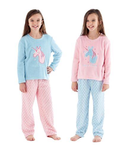 Girls Fleece Unicorn Dreams Winter Pyjama Set ~ 5-13 Years