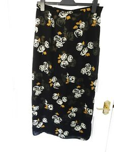Vintage-LAURA-ASHLEY-Size-14-Black-Brown-Ivory-Floral-100-Silk-Skirt-Lined