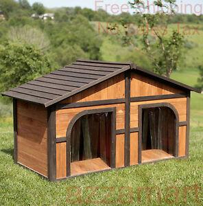 Double dog house extra large wood duplex outdoor pet for Large duplex dog house