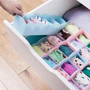 5-Grid-Organizer-Tie-Bra-Socks-Drawer-Cosmetic-Divider-Plastic-Storage-Box-US