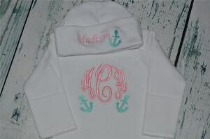 PERSONALIZED Monogram Flower Baby Sleeper Gown and Hat Script Font