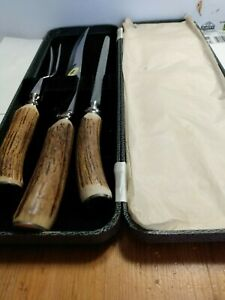 Genuine-Stag-Antler-Handle-3-Piece-Carving-Set-Cased-Made-In-Sheffield-England