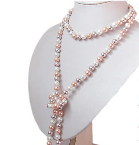 Fashion-Women-039-s-8mm-Natural-Multicolor-South-Sea-Shell-Pearl-Necklace-51-034-Long