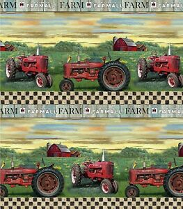 Farmall Tractor Toss on Blue Print Concepts YARD Hometown Life Fabric