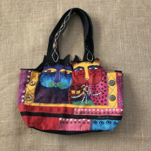 Laurel Burch Feline Cat Hand Bag Shoulder Bag Zip… - image 1