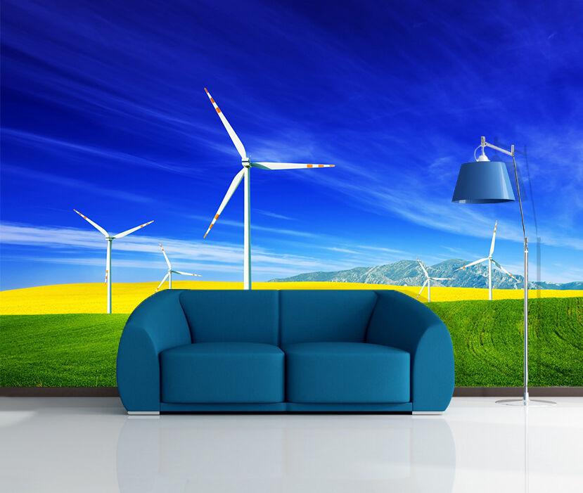 3D bule sky windmill Wall Paper Print Decal Wall Deco Indoor wall Mural