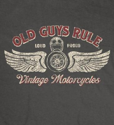 OLD GUYS RULE VINTAGE MOTORCYCLES CHARCOAL TEE SHIRT