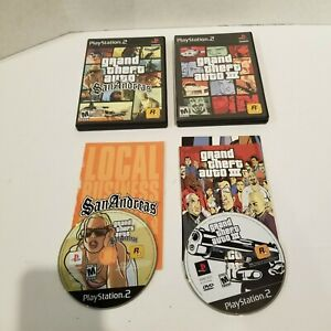 Lot-of-2-GTA-Games-Grand-Theft-Auto-III-amp-San-Andreas-with-Manuals-PS2-CIB