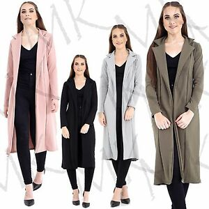 Womens-Long-Sleeve-Long-Line-Collared-Duster-Ladies-Coat-Jacket-Top-Size-UK-8-14