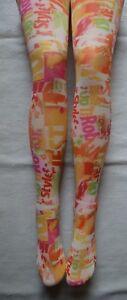 Neon-Nineties-Graffiti-Art-Tights-opaque-Orange-Pink-Spring-Great-W-Shorts-1990